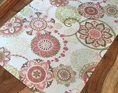 Spring suzani floral Table Runner in pinks, greens and beiges