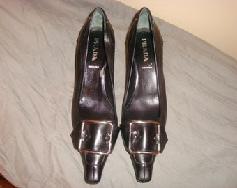 FINAL Clearance Black Leather Silver Buckle Prada Pumps 36.5-6.5M