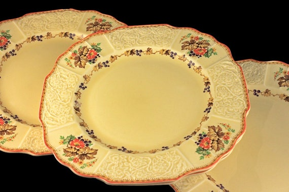 Dinner Plates, Myott Staffordshire, Embossed, Grapes, Flowers, and Leaves, Cream Colored, Hard to Find, Made In England, Set of 4