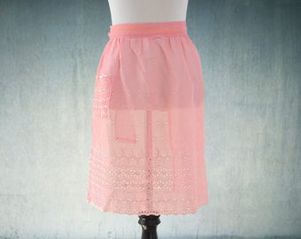 1950s Apron Sheer Pink Eyelet Lace Half Apron