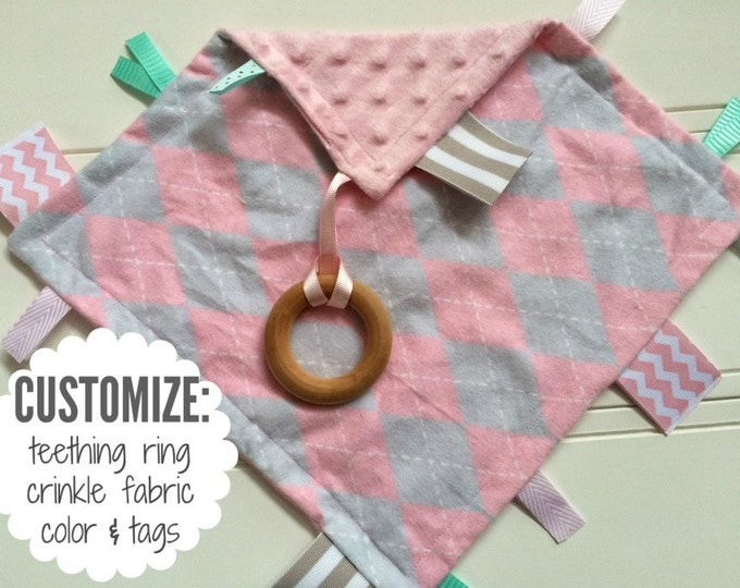 Baby Sensory Tag Blanket | Options: Natural Teething Ring, Crinkle Material, Color | Gray and Pink Diamonds