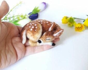 PDF FILES pattern Little Sleeping Fawn kit - beginner/ intermediate - The Wishing Shed Deer disney craft work
