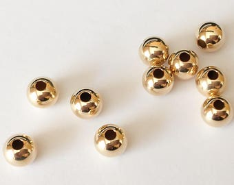 4mm 14k Gold Filled Round Seamless Beads Spacers 10pc