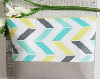 """The """"Haven"""" original zipper pouch, makeup bag, diaper bag, geometric, aqua and yellow"""