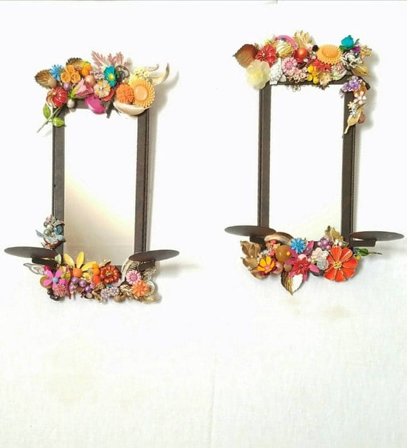 Jeweled Wall Sconces : Candle sconces mirrored floral wall sconces jeweled