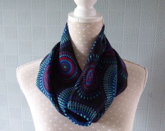 Blue African design snood, abstract coloured cowl, abstract loop scarf in African style