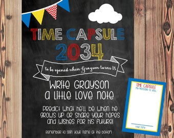 Time Capsule Sign and Note Cards - Chalkboard Time Capsule - DIGITAL Printable File