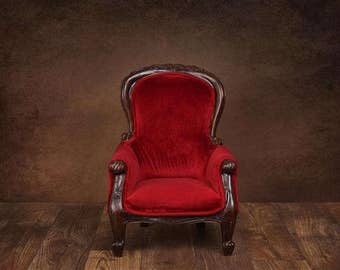 Digital Sitter Backdrop Fancy Chair on Brown. One of a kind prop!