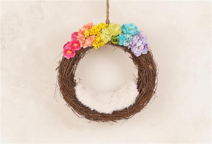 digital newborn backdrop pastel rainbow baby hanging floral basket  one of a kind prop  from