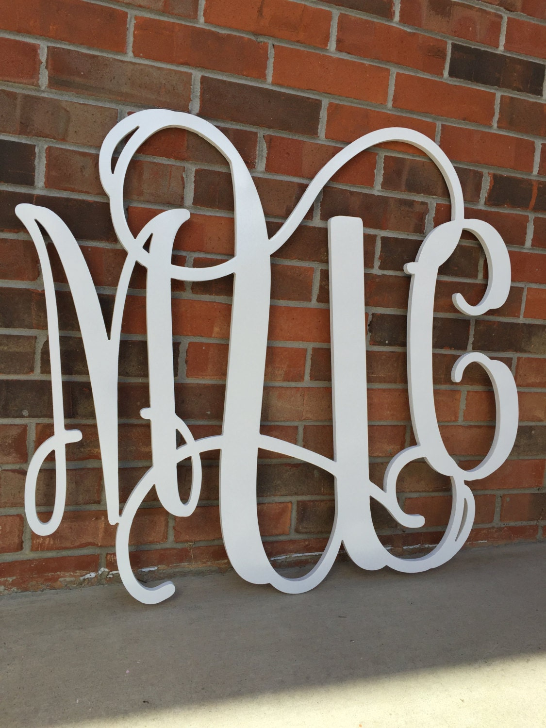 36 inch wooden monogram painted white wedding guestbook for Monogram homes