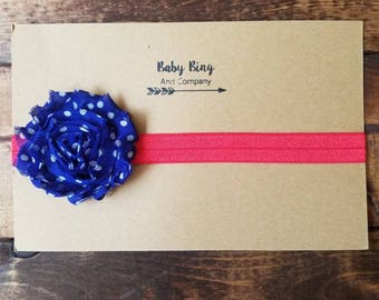 Patriotic red, blue and white toddler headband, big bow headband, headband photo prop, baby girl hair accessory