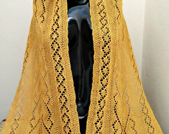 Lace Knit Rectangular Wrap in Baby Alpaca Linen and Silk