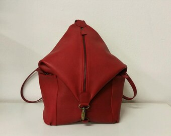 Red leather backpack. Rucksack Red