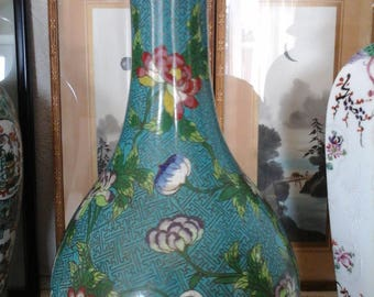 A huge and rare early 20thc Chinese cloisonné metal vase