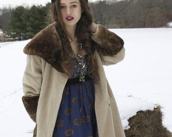1950's Elaborate Faux Fur Coat. Amazing Details! Kraelers Gray shop.