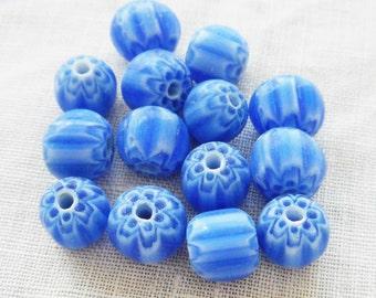 Blue and white striped chevron glass Beads 6 x 7mm, 25 pcs  C1401