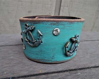 Bronze Anchor Charm Sparkly Turquoise Aqua Distressed Upcycled Leather Cuff Bracelet