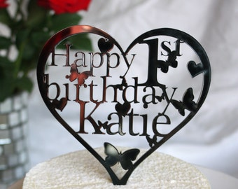 Heart Birthday Cake Topper Decoration-ANY Name and Age in black,white,mirror,silver,gold or pink.1st,18th,21st,30th,40th,50th,60th,70th,80th