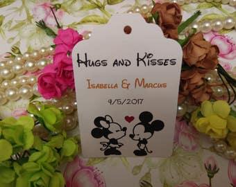 Hugs and kisses Tags, Wedding Thank You Tags, Custom Wedding Tags, Favor Tags. Bridal Tags. Disney tags Set of 25 to 300 pieces