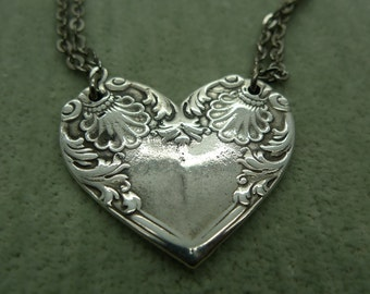 Silver Spoon Heart Necklace 18 inch