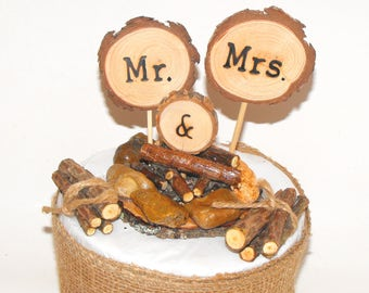 Mr & Mrs Camping theme Wedding Cake Topper Campfire rustic Decorations  - Summer, Fall Woodland Wedding ~ Forest  adventure cake top