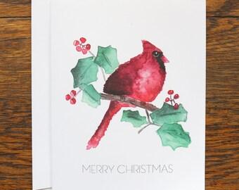 Holiday Cardinal Stationery - set of 6 folded cards + envelopes