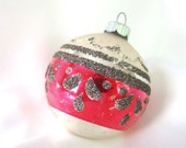Vintage Shiny Brite Christmas Ornament - Silver and Red with Black Mica Ornament