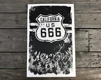 California Highway Screenprint Poster 11 x 17