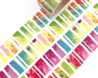 Washi Tape Water Colour Rainbow Paint design 10metres