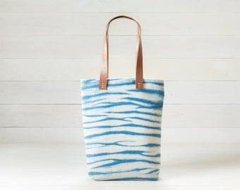 Indigo Shibori Tote in Waves