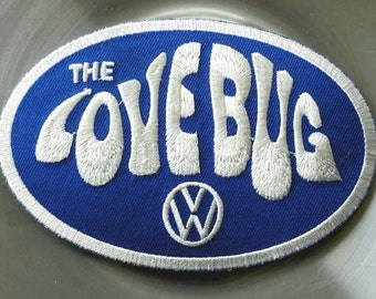 """Vintage Volkswagen """"The Love Bug"""" Embroidered Iron On Patch 4 1/2""""× 3''"""