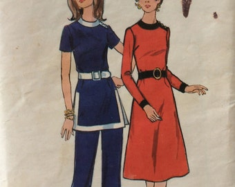 Butterick 6329 vintage 1970's misses dress, tunic & pants sewing pattern size 20 bust 42 waist 33   Mostly uncut