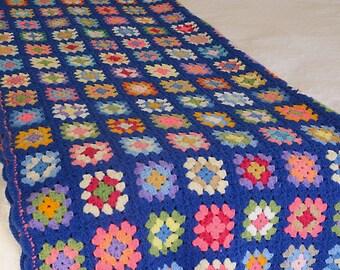 Vintage Blue Multi Color Square Afghan