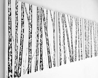 Three Piece Wall Art, Black White Painting, Birch Tree, Aspen Tree Painting, Triptych Wall Art, Original Custom Artwork, Large Tree Painting