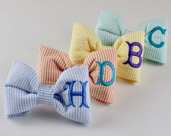 Monogram Blue Seersucker Bow Tie || Small Medium Large  Personalized Preppy Bowtie || Custom Gift by Three Spoiled Dogs