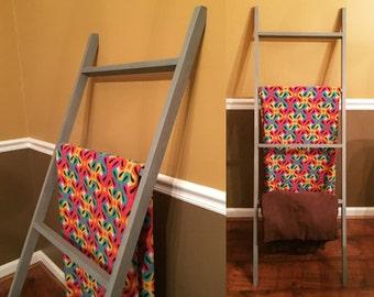 Handmade Wood Blanket Ladder Quilt Ladder Towel Holder - Choose Your Stain Color