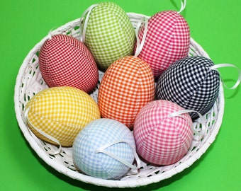 Fabric eggs large 8 cm 3 piece checkered gingham sewed colorful Easter eggs eggs unbreakable red green pink blue white yellow orange