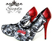 Siegda EXPRESS- The Walking Dead- Zombie Horde- Glitter Heels- Size 8 - Ready To Ship- Wedding- Geek- Bride- Gift-Custom