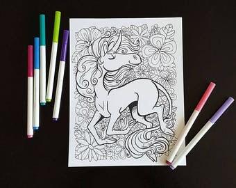 Fabulous magic unicorn, coloring illustration, instant download unicorn, magic unicorn, pretty unicorn