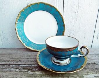 Vintage Coffee Cup or Teacup - Mid century Weimar Porcelain petrol blue