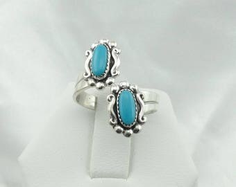 Hallmarked Bell Trading Post Blue Turquoise Sterling Silver Native American Ring Adjustable Size Size 5 1/2  #ADJUSTABLE-SR3