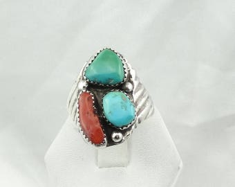 Large Traditional Southwest Native American Turquoise and Coral Sterling Silver Ring Size 11 1/2 #2TC-MS