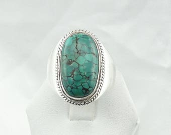 Beautiful Vintage Large Turquoise Cabochon Sterling Silver Native American Ring Size 10 3/4  #TQLG-MS