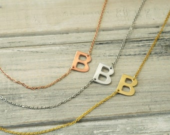 sideways initial necklace initial necklace personalized necklacecustom letter necklacebridesmaid gift