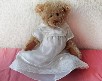 "Vintage White Wedding Dress for 15"" Teddy Bear by Bear Factory"