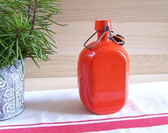 Orange gourd Roc France water gourd Swing-top bottle stopper aluminum gourd | Made in France 1960