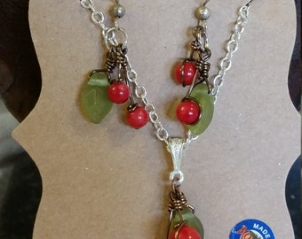 Coral Cherry Jewelry Set
