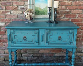 SOLD SOLD Painted buffet / painted shabby chic buffet / distressed buffet / sideboard / buffet / antique buffet / turquoise buffet