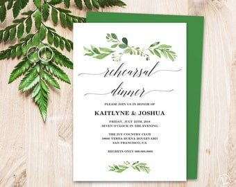 Wedding Rehearsal Dinner Invitation Card Template, Printable Greenery Rehearsal Dinner Card, EDITABLE Text, 5x7 inches, Garden Greenery