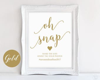 "Gold Wedding Hashtag Sign, Oh Snap Hashtag Sign, 8""x10"", DIY Printable Wedding Sign, Modern Calligraphy, VW10GOLD"